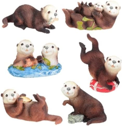 Set of 6 Sea Otters Collectible Figurine Statue Sculpture Figure