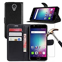 BLU LIFE ONE X2 Case + Screen Protector, Gzerma PU Flip Leather Stand View Feature, Card Slots/Cash Pouch Cover and Explosion-Proof Protective Film for BLU Life One X2 Smartphone (Black)