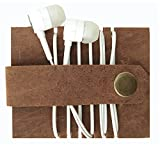 E-Tailor (SET OF 2 PCs.) Genuine Leather Vintage Brown Headphone Organizer | Earphone Organizer| Earbud Organizer | Cord Manager Keeper |Earphone Cable Holder