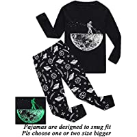 Boys Pajamas Dinosaur-Glow-in-The-Dark Toddler Clothes Kids Pjs Sleepwear Shirts