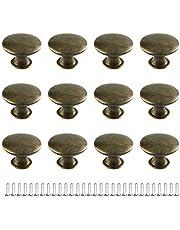 JINXM 12 stuks brons ladeknoppen antieke kastgreep rond kastknoppen voor kast lade