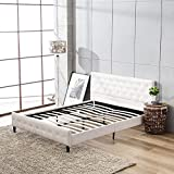 Mecor Faux Leather Bed Frame Full Size,Platform Beds,Button/Diamond Upholstered Headboard&Footboard Design,with Solid Slats,White-Full Size
