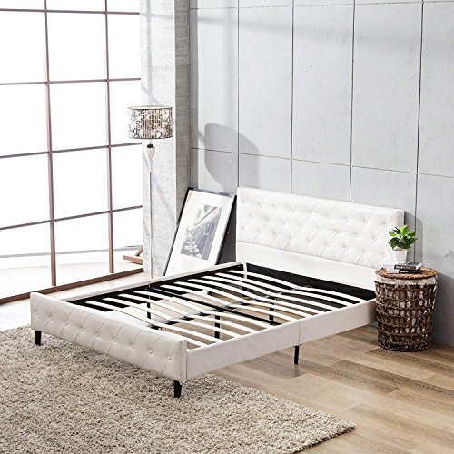 (Mecor Upholstered Faux Leather Platform Bed with Solid Wooden Slat Support and Button Tufted Headboard and Footboard, White, Full Size)