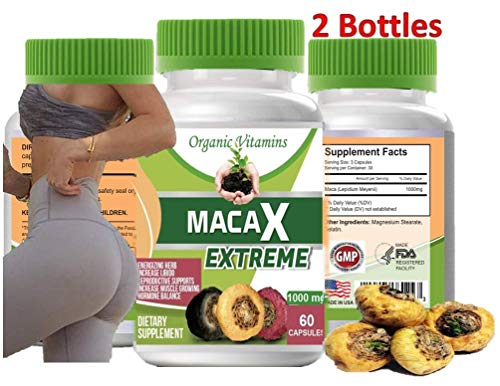 Maca XL 120 Capsules Total 2 Bottles of 60 Capsules Original Pill Super maca Extreme XL Shape Buttocks Bigger Butt Booty Shaper 60 Capsules Plus Free Extra 60 Capsules 2 Bottles (Best Maca Root For Bigger Booty)
