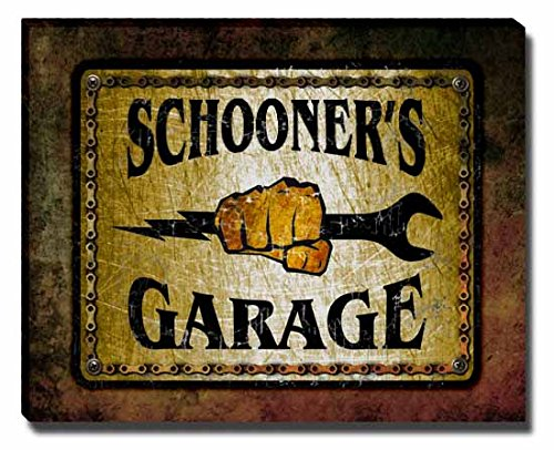 schooners-garage-stretched-canvas-print