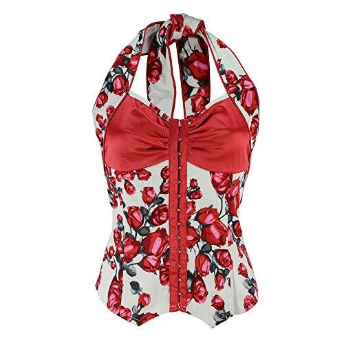 [Voodoo Vixen 50'S Rockabilly Retro Floral Roses Shirt Blouse Halter Top (S)] (Rockabilly Retro Shirt)