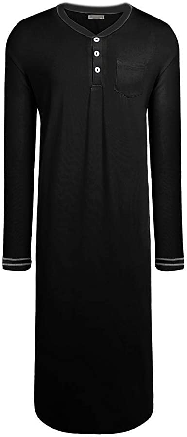 Ekouaer Mens Long Nightshirts Soft Pajama Tops Big & Tall Sleep Henley  Shirts m-XXXL mimbarschool.com.ng