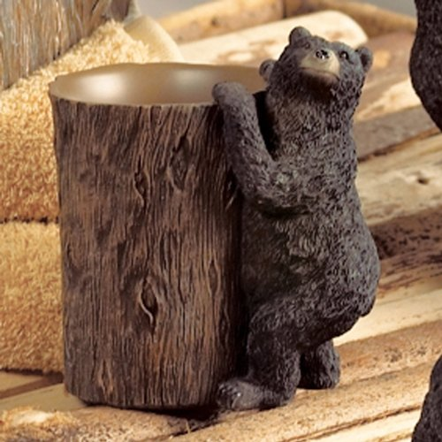 Black Bear Lodge Tumbler - Wilderness Bathroom Accessories by BLACK FOREST DECOR