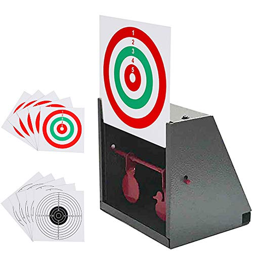 BB Trap Target with Paper Shooting Targets and Resetting Metal Silhouettes Targets for Airsoft Gun-BB Gun (Paper Targets For Bb Guns)