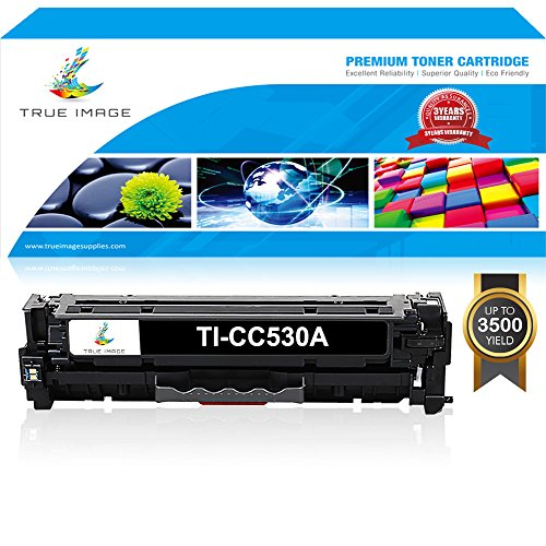 True Image 1 Pack Compatible HP CC530A 304A Toner Cartridge for HP Color LaserJet CP2025 CP2025N CP2025DN CM2320 CM2320N MFP CM2320NF MFP CM2320FXI MFP Printer Toner Ink - Black (Laserjet Color Printer Cp2025)