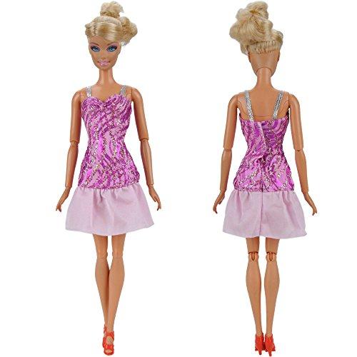 Amazon.es: E-TING 5 x moda Mini vestido para muñeca Barbie hecha a mano Vestido de fiesta corto arropa: Juguetes y juegos