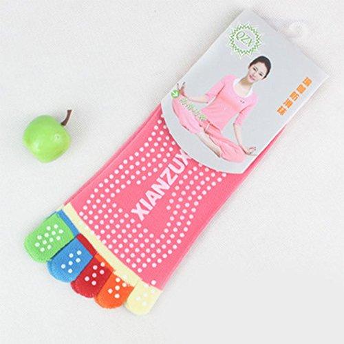 Beautyrain 1 paire Chaussettes colorées à cinq doigts Antidérapant antidérapant pour Yoga Pilates Gym Exercice Fitness Massage (Choisissez vos couleurs)