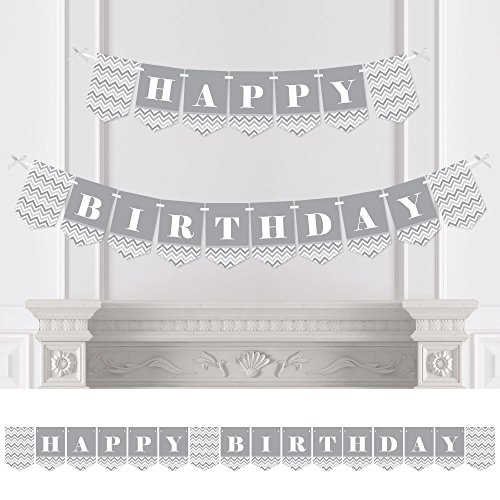 (Big Dot of Happiness Chevron Gray - Birthday Party Bunting Banner - Gray Party Decorations - Happy)