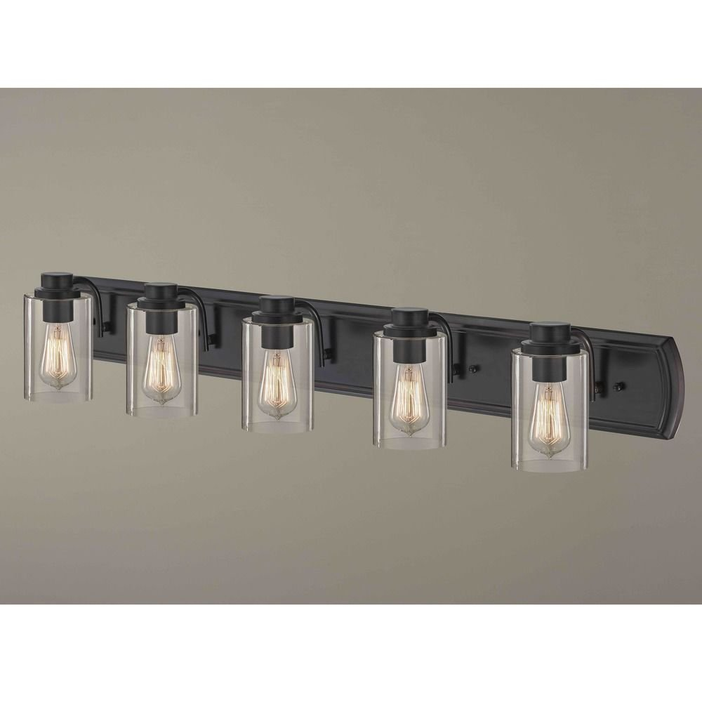 Industrial 5-Light Bath Wall Light in Bronze by Design Classics