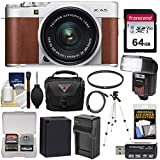 Fujifilm X-A5 Wi-Fi Digital Camera & 15-45mm XC Lens (Brown) with 64GB Card + Battery & Charger + Case + Tripod + Flash + Filter + Kit