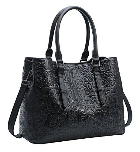 Tote Heshe Womens Crocodile Leather Shoulder Handbags Bags Satchel Purse (Black-R050) ()