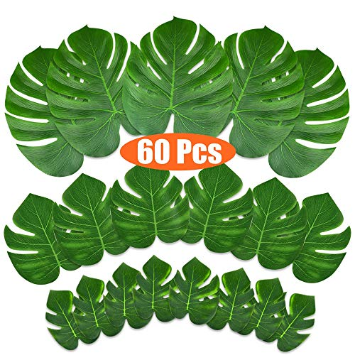 KUUQA 60 Pcs Tropical Leaves Party Decoration Artificial Tropical Palm Monstera Plant Leaves Imitation Leaf for Hawaiian Luau Aloha Party Jungle Theme BBQ Birthday Party Supplies 3 Sizes ()