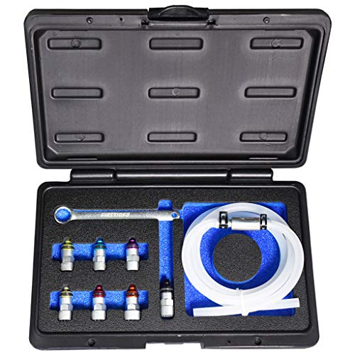 FIRSTINFO Brake Fluid Clutch Bleeder Hose with Non-Return Check Valve and 12 Point 7-12mm & 3/8-Inch Drive Sockets and Wrench Set