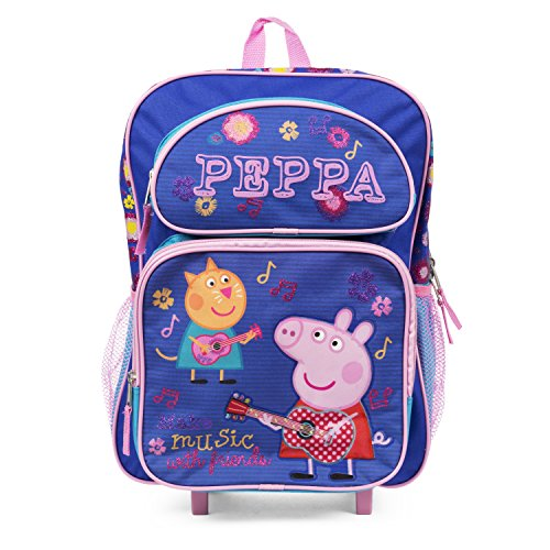 "Peppa Pig 16"" Rolling Backpack Blue Make Music with Friends"