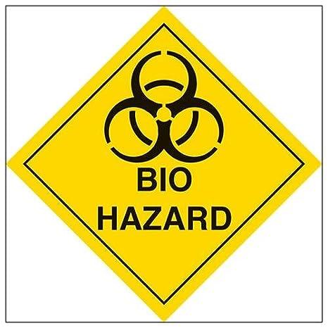 Self Adhesive Vinyl VSafety Bio Hazard Warning Diamond Sign 100mm x 100mm Square