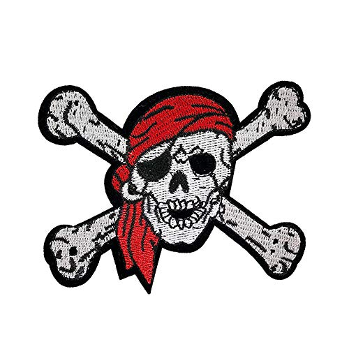 (2 Pcs Pirate Skull Iron On Sew On Embroidered Patch, Applique Patch, Cool Patches for Men, Women, Boys, Girls, Kids)