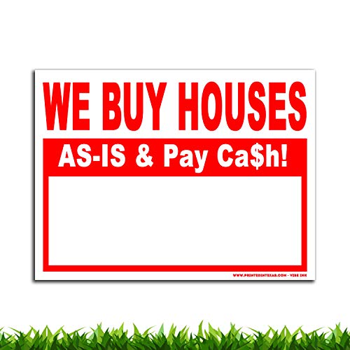 VIBE INK We Buy Houses AS-is & Pay Cash - 24x18 Large - 50(Fifty) Bandit Signs for Real Estate Investing - Plastic, Single-Sided Print - Waterproof, Vertical Flutes, Made in America! (Red) (Houston Patio Homes Area Sale In For)