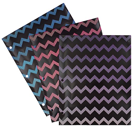 Emraw Laminated Fashion Chevron Glitter 2 Pocket File Portfolio Folder - Used for Papers, Loose-Leafs, Business Cards, Compact Discs, Etc. (3-Pack)