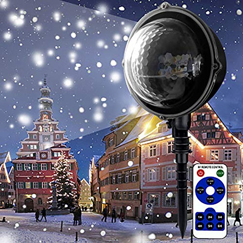 AIBOTY Christmas Projector Light Outdoor Waterproof LED Snowflake Light Halloween Projector Light Remote for Christmas Halloween Party Garden Projection Light -