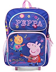 Peppa Pig 16 Rolling Backpack Blue Make Music with Friends