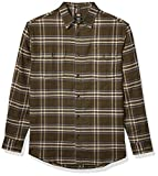 Dickies Men's Long Sleeve Flex Flannel Shirt, Tactical Green/Dark Slate Plaid, Large