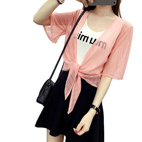 Women Light Shawl Beach Short Sleeve Cardigan Cropped Bolero Shrug Jacket Pink (Beach Shrug)