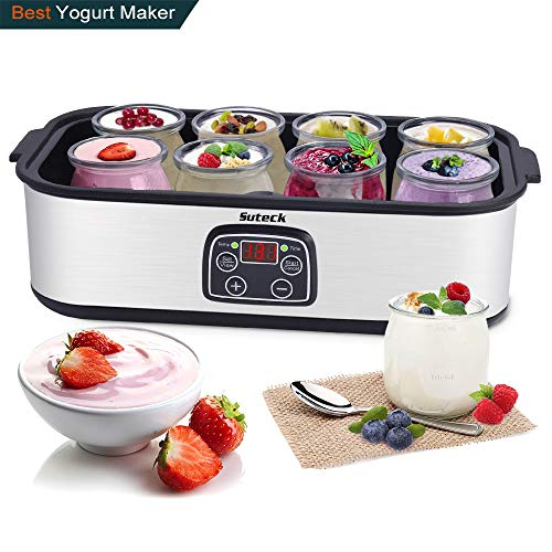 Greek Jar - Automatic Yogurt Maker Machine Digital LCD Display with Constant Temperature Control 8 Glass Greek Jars and Lids 48 Ozs Stainless Steel Design