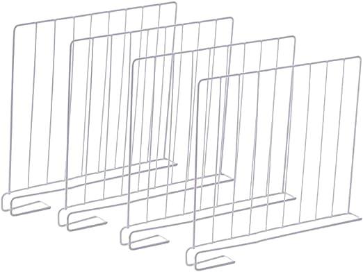 ZUJI 4pcs Separadores Met/álicos para Armarios y Estanter/ías Divisores de Baldas Divisores de Estantes
