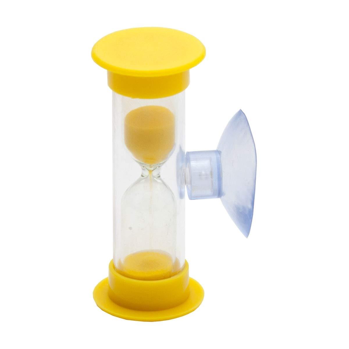 Lantelme 6831 Lot de 4 sabliers de protection dentaire 3 minutes avec t/étines pour vous et vos enfants Kit de famille dans les couleurs rose jaune vert et bleu