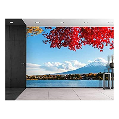 Mount Fuji Across a Lake Being Framed by a Red Tree - Wall Mural, Removable Sticker, Home Decor - 66x96 inches