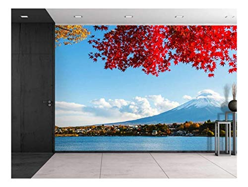 Mount Fuji Across a Lake Being Framed by a Red Tree Wall Mural