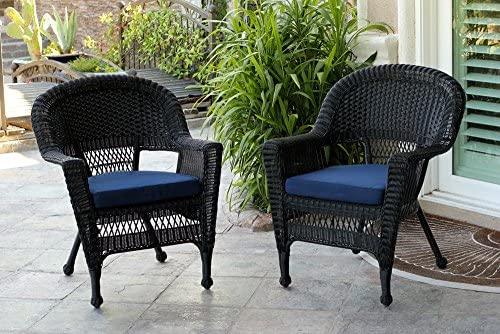 Jeco Wicker Chair with Blue Cushion, Set of 2, Black W00207-