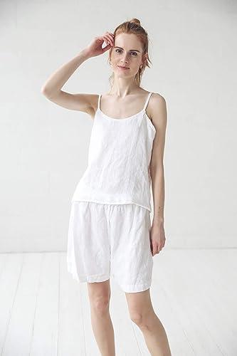 Linen pajamas  Linen sleepwear  Linen shorts  Ice grey shorts  Linen leisurewear  Linen pajama set