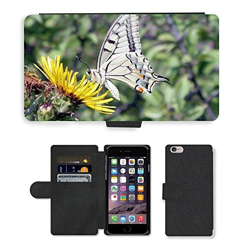 "Just Phone Cases PU Leather Flip Custodia Protettiva Case Cover per // M00129039 Papillon Machaon Papilio lépidoptères // Apple iPhone 6 PLUS 5.5"""