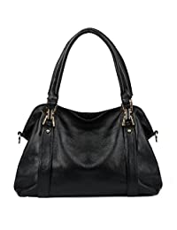 Yaluxe Women's Soft Cowhide Genuine Leather Purse Hobo Shoulder Bag