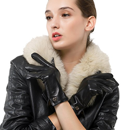 Women's Italian Lambskin Leather Glove Winter Warm Simple Fleece Lining Gloves ()