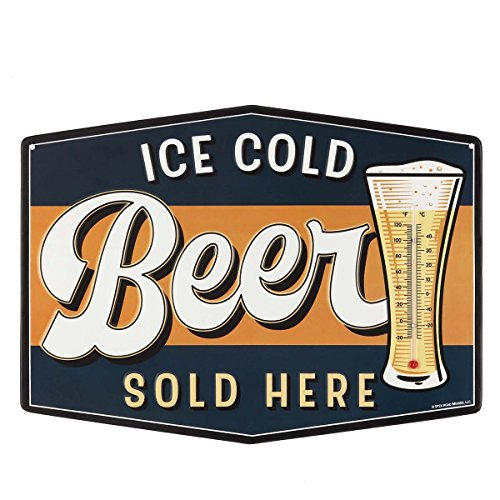 Open Road Brands Ice Cold Beer Embossed Metal Thermometer