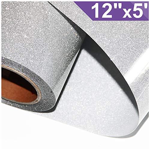 ARHIKY Glitter 12x5ft Silver Heat Transfer Vinyl Roll(HTV) for T-Shirt Clothing Garment Bags