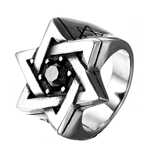 Epinki,Fashion Jewelry Men's Large Stainless Steel Rings Agate Silver Black Lucky Jewish Star Of David Vintage Size - Friday Canadian Black Sale