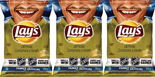 Lay's Dill Pickle Potato Chips 255g/ 8.9oz Bag {Imported From Canada} (3-Pack)