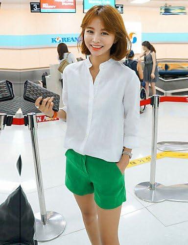 De la Mujer sólido color azul/rojo/blanco/negro/verde camisa ...