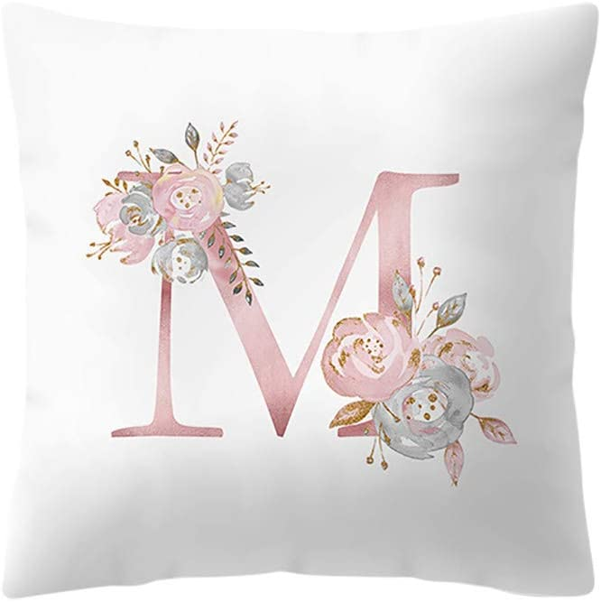 Doingshop-Pillow Cases Housse de Coussin Blanche et Rose 45,7 x 45,7 cm avec Lettre de lalphabet 26 Lettres imprim/ées de Fleurs J Taille Unique Lin