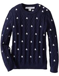 (3折)Brooks Brothers 女孩长袖线衫 $24 Crew Neck Cable Emb Swt Sweater