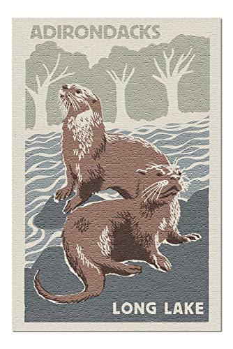 Adirondacks, Long Lake, New York - River Otters - Woodblock (20x30 Premium 1000 Piece Jigsaw Puzzle, Made in USA!)