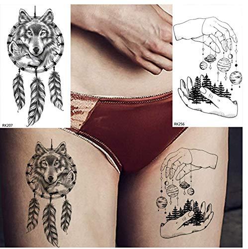 ruofengpuzi Adesivo tatuaggioPluma Planeta Lobo Atrapasueños ...